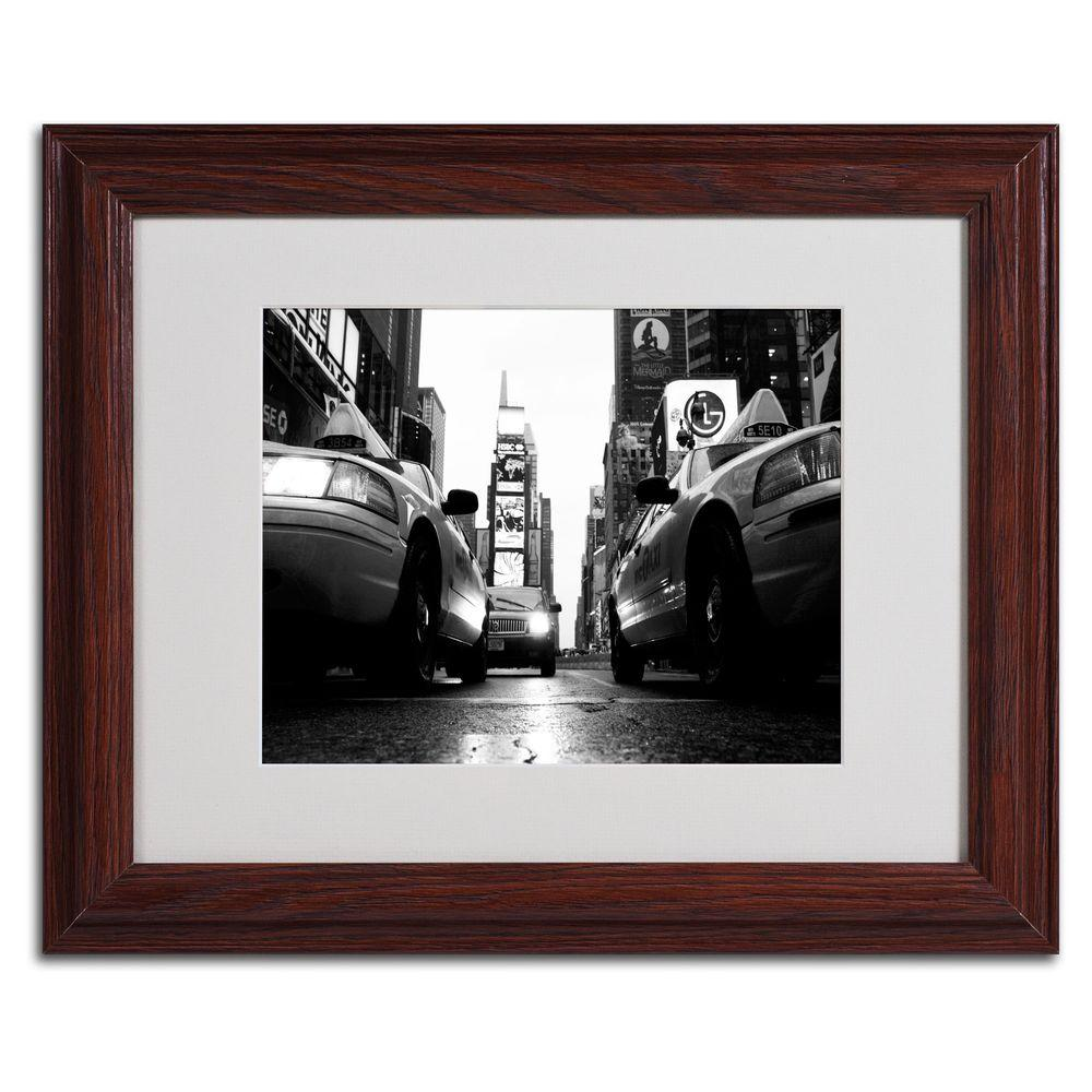 11 in. x 14 in. Broadway Taxis Matted Framed Art