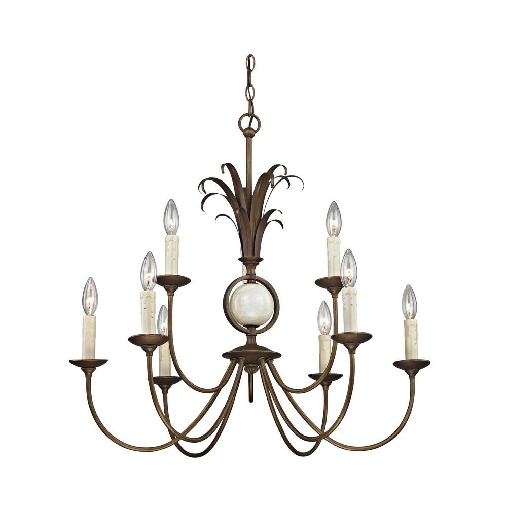 Pinnacle 9-Light Burnished Gold Chandelier with Marble Accents