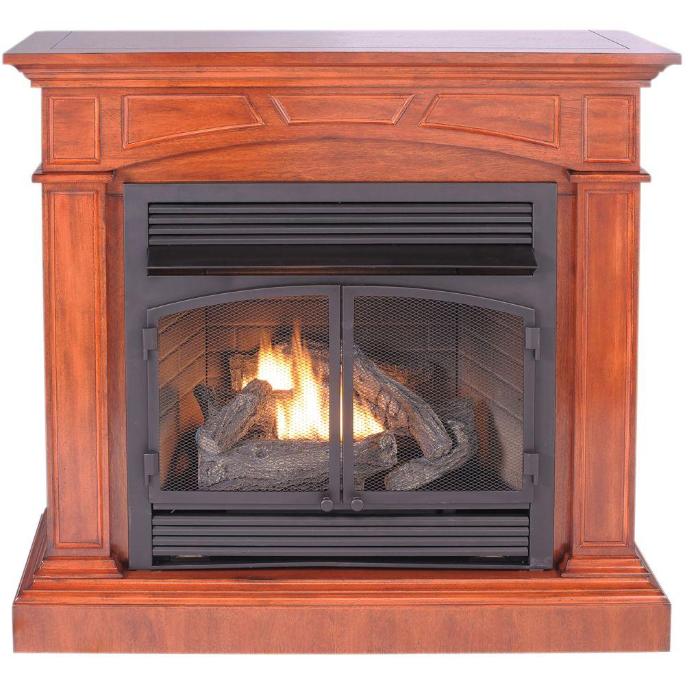 ProCom 45 in. Convertible Vent-Free Dual Fuel Gas Fireplace in Heritage Cherry-DISCONTINUED