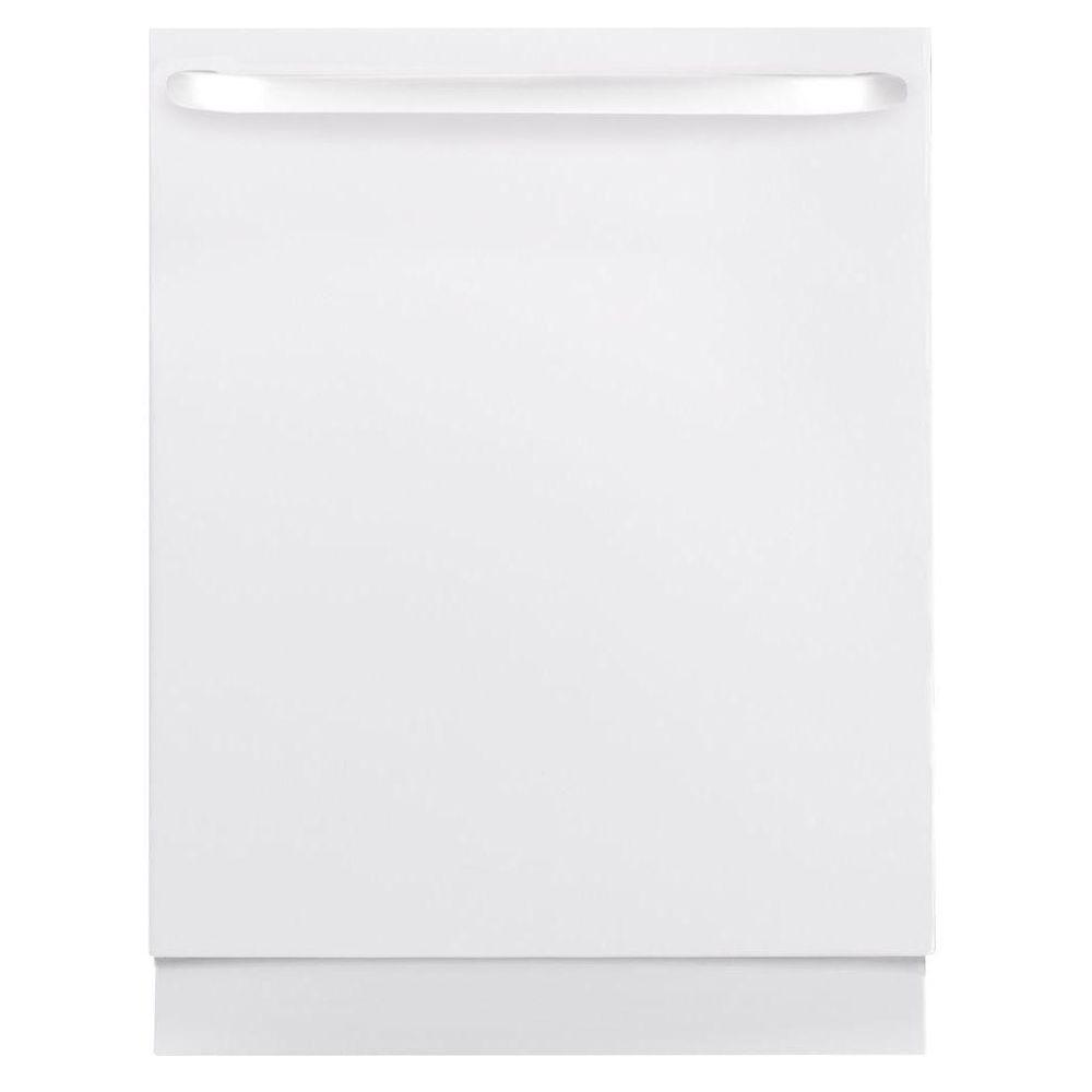 GE Top Control Dishwasher in White with Stainless Steel Tub