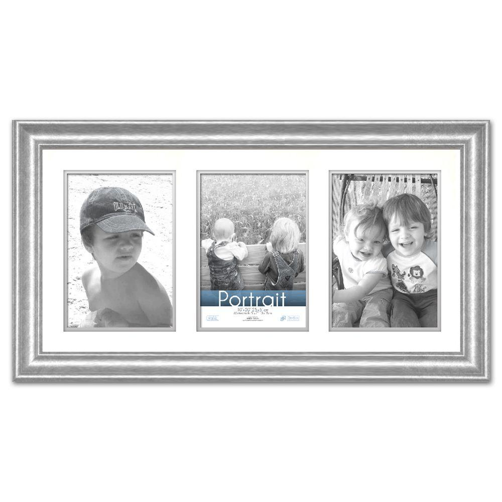 3 Opening Frame Part - 32: Lauren 3-Opening 20 In. X 10 In. Silver Matted Picture Frame