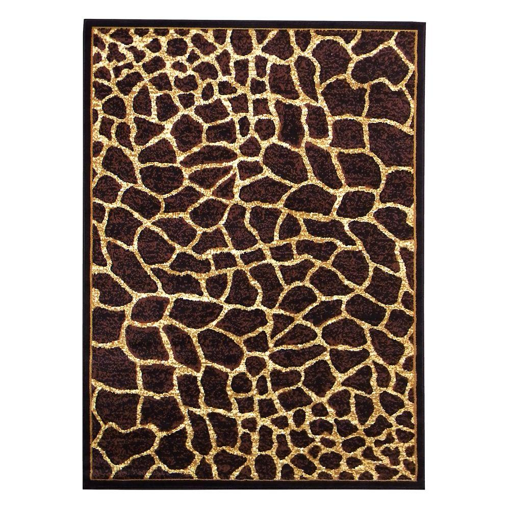 DonnieAnn African Adventure Giraffe Skin Design Brown 5 ft. 2 in. x 7 ft - DonnieAnn African Adventure Giraffe Skin Design Brown 5 Ft. 2 In