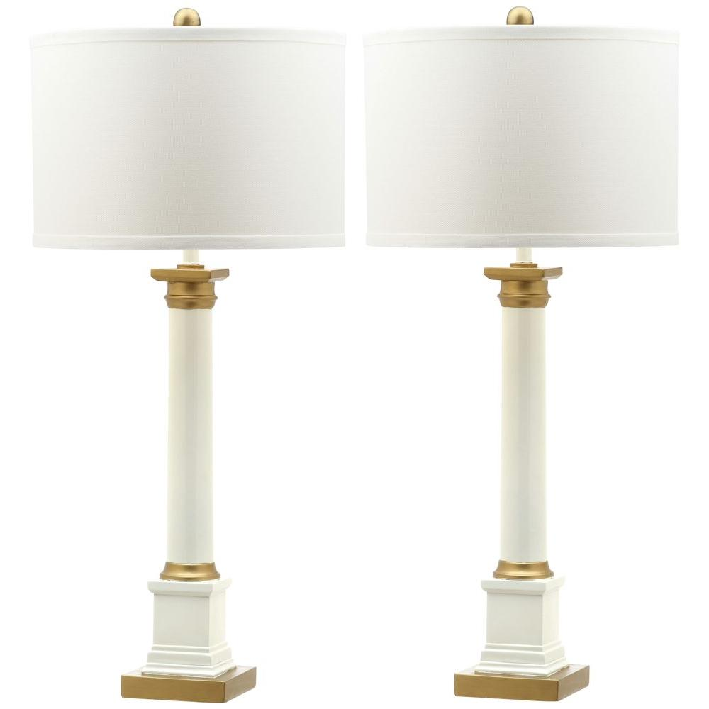 safavieh henley 32 5 in white gold table lamp with white shade. Black Bedroom Furniture Sets. Home Design Ideas