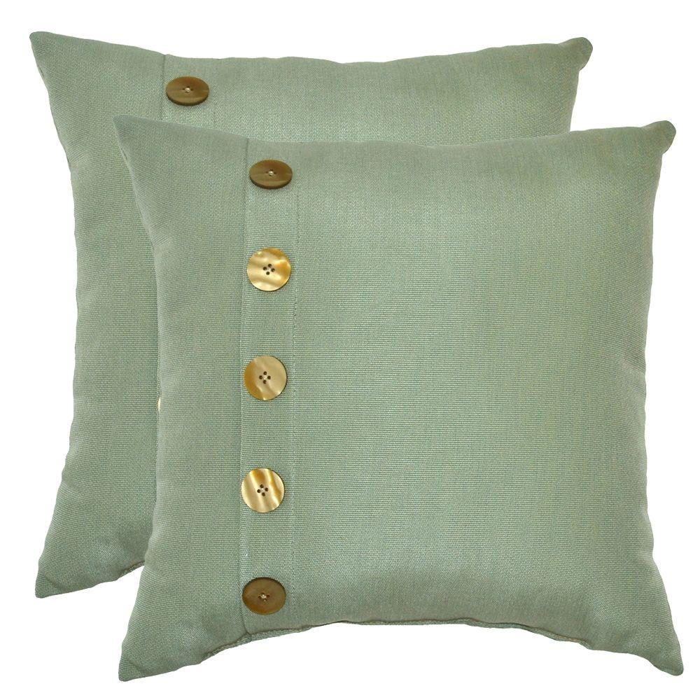 Plantation Patterns Spa 5-Button Outdoor Throw Pillow (2-Pack)-DISCONTINUED