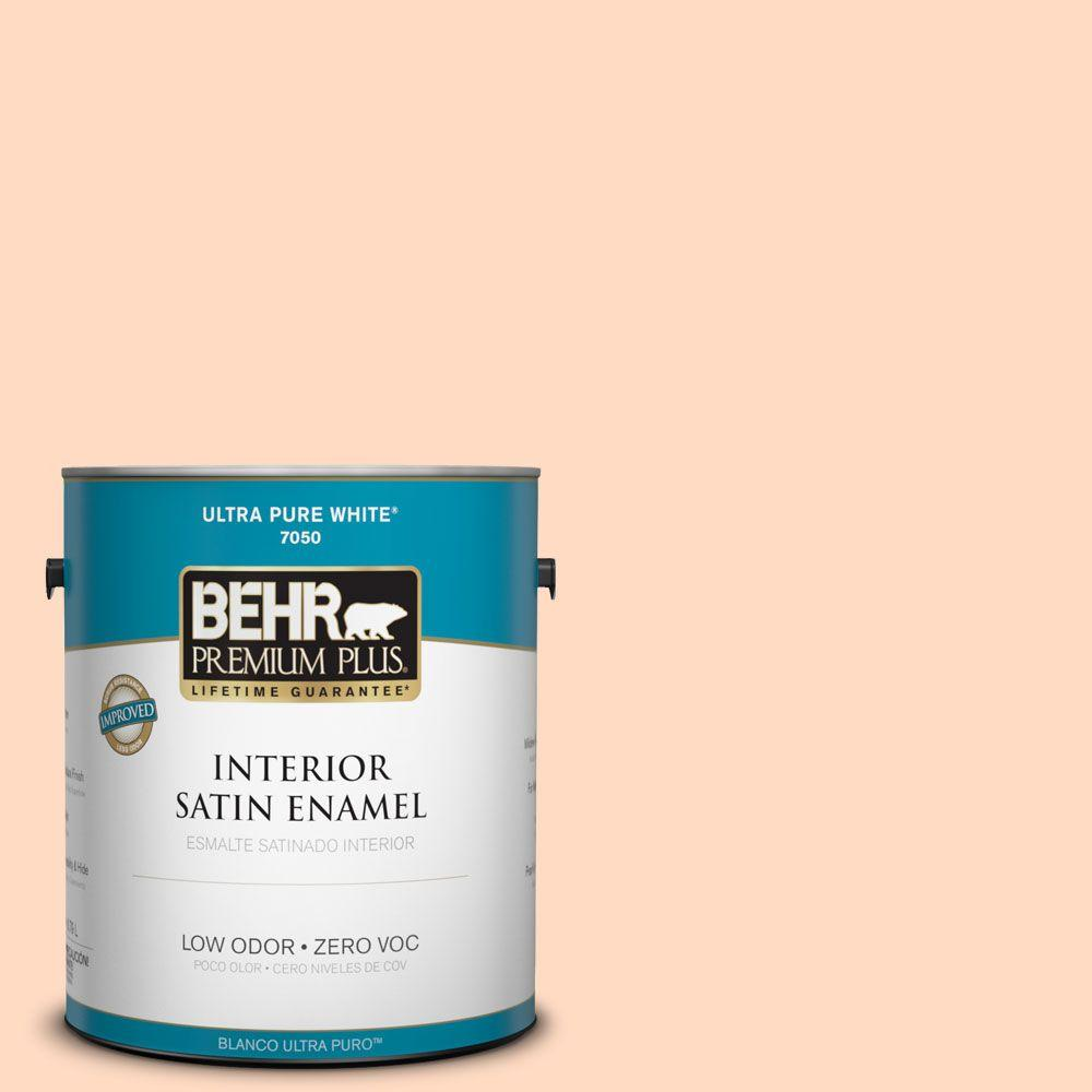 BEHR Premium Plus 1-gal. #250A-3 Whispering Peach Zero VOC Satin Enamel Interior Paint
