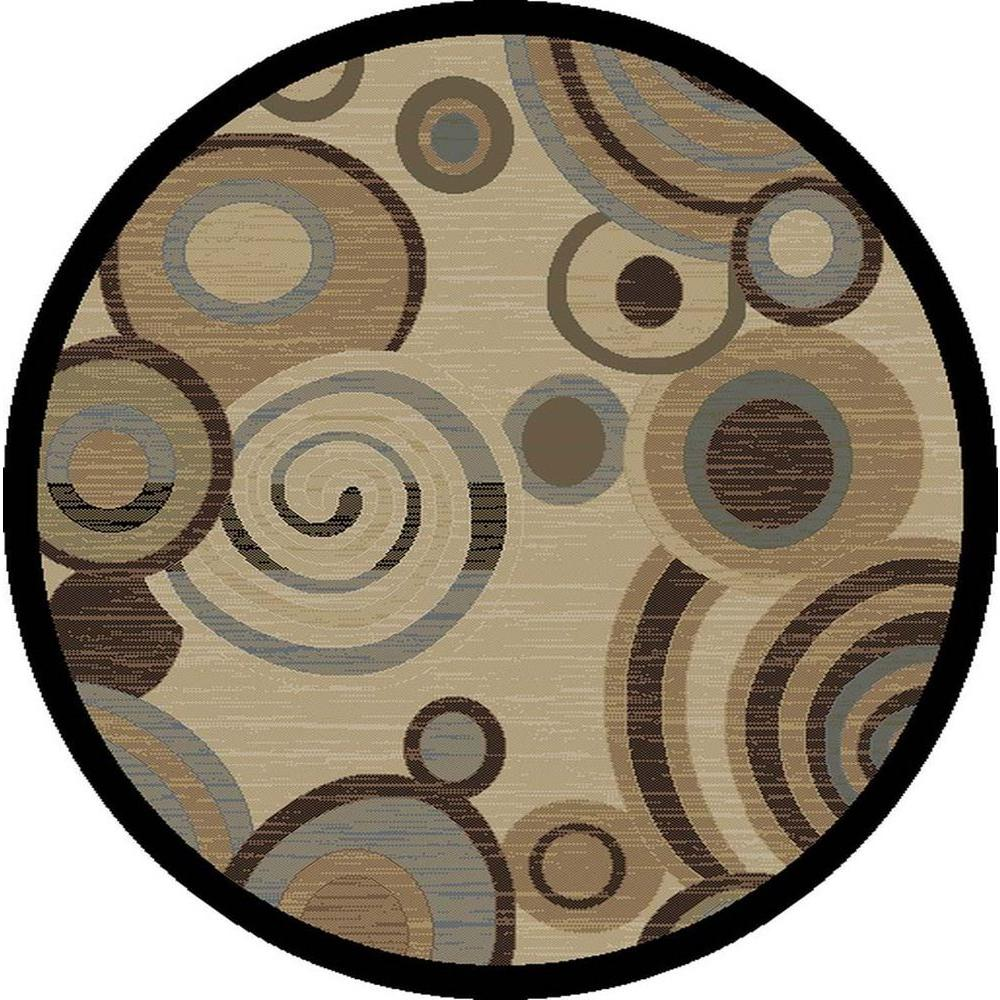 Tayse Rugs Festival Beige 5 Ft. 3 In. Contemporary Round