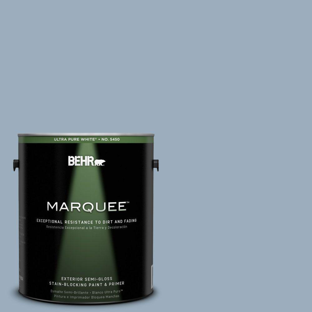 BEHR MARQUEE 1-gal. #560F-4 Russian Blue Semi-Gloss Enamel Exterior Paint-545401