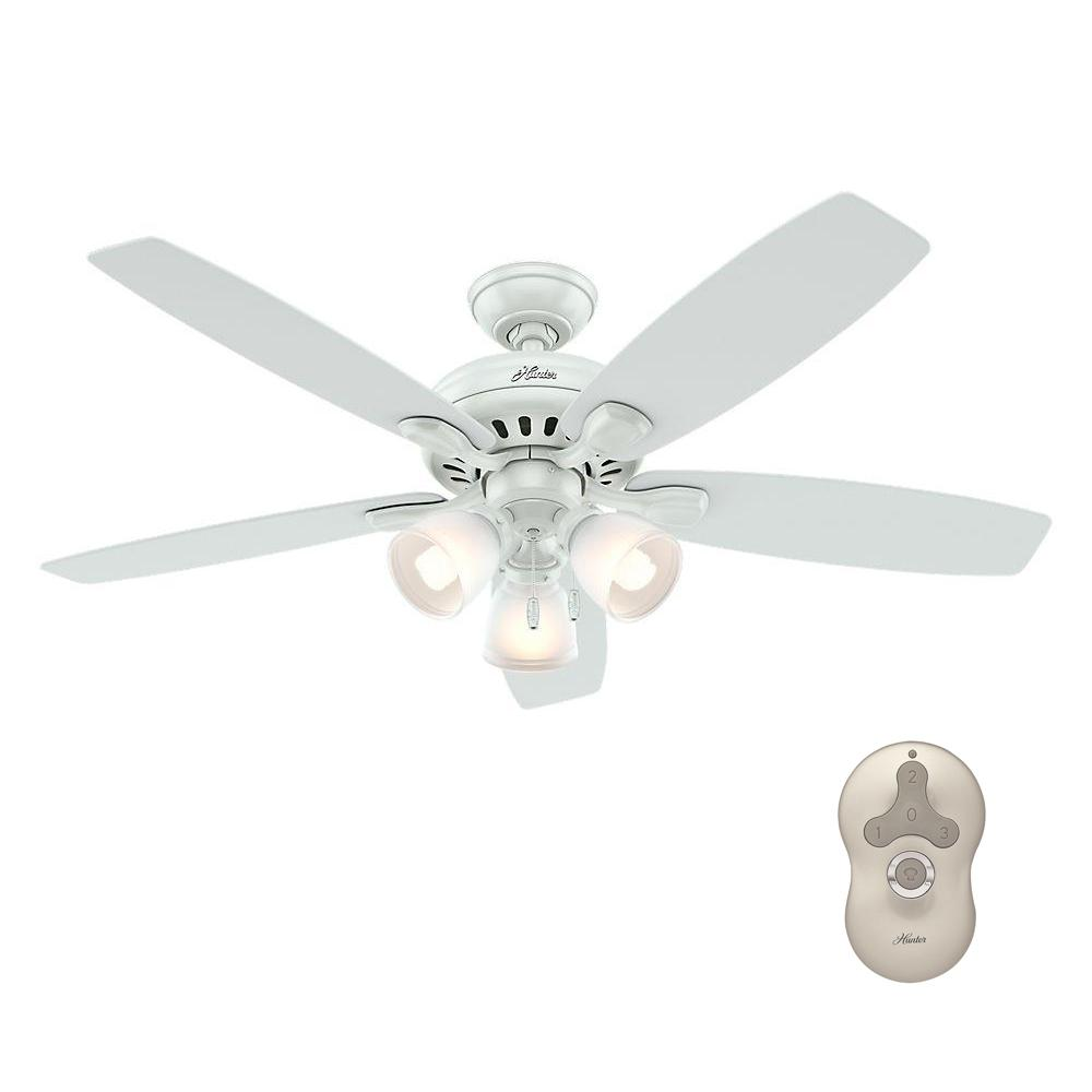 Hunter Highbury 52 in. Indoor White Ceiling Fan with Light Kit