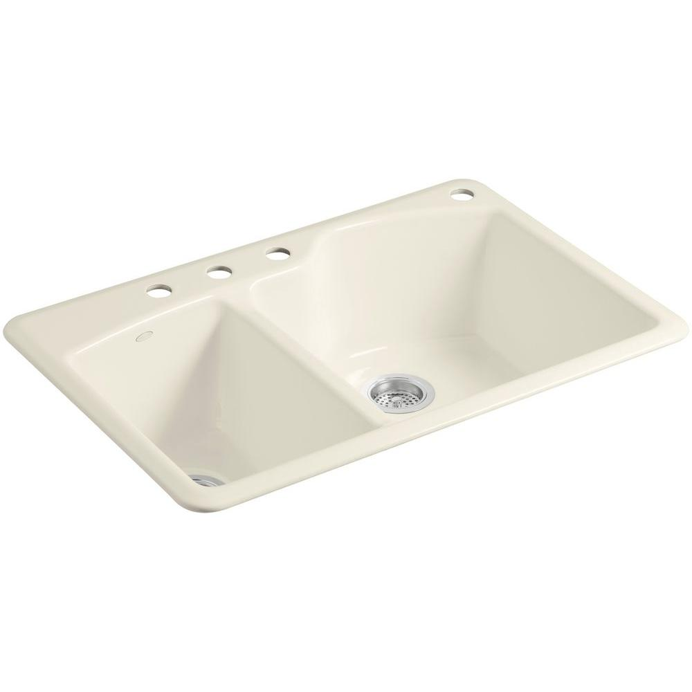 KOHLER Wheatland Top Mount Cast-Iron 33 in. 4-Hole Double Bowl Kitchen ...