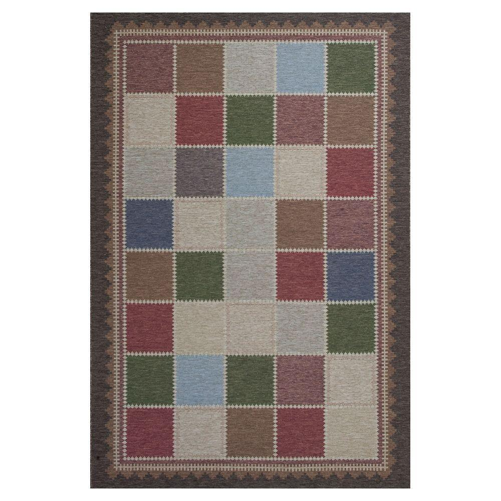 Kas Rugs Quilted Charm Brown/Ivory 3 ft. 4 in. x 4 ft. 11 in. All-Weather Patio Area Rug