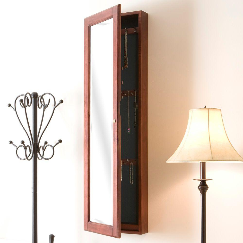 48-1/4 in. x 14-1/2 in. Wall-Mounted Jewelry Armoire with Mirror in Cherry (Red)