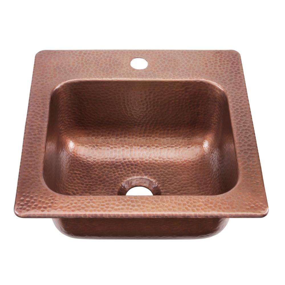 SINKOLOGY Seurat Drop-In Handmade Pure Solid Copper 15 in. 1-Hole Bar Prep Copper Sink in Antique Copper