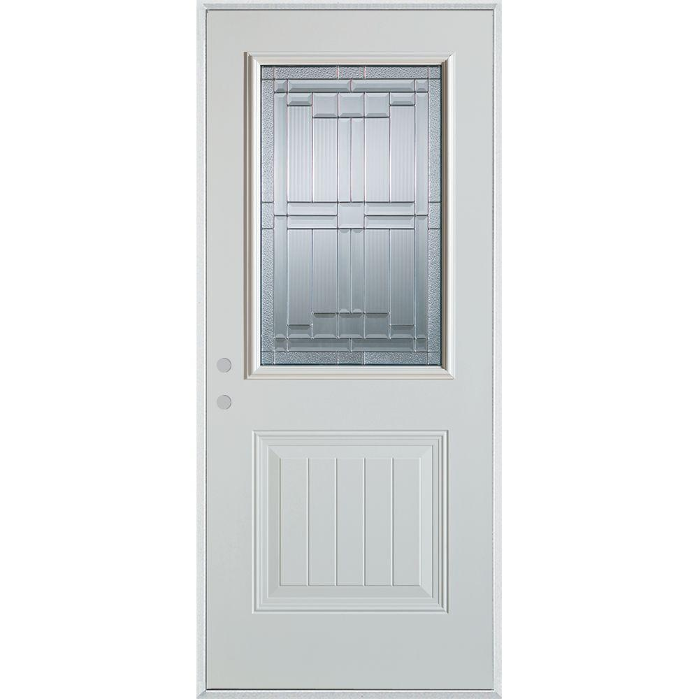 Stanley Doors 36 in. x 80 in. Architectural 1/2 Lite 1-Panel Painted White Steel Prehung Front Door, Prefinished White/Zinc Glass Caming