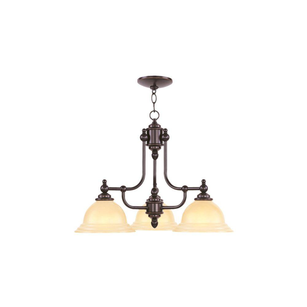 3-Light Olde Bronze Chandelier with Iced Champagne Glass Shade