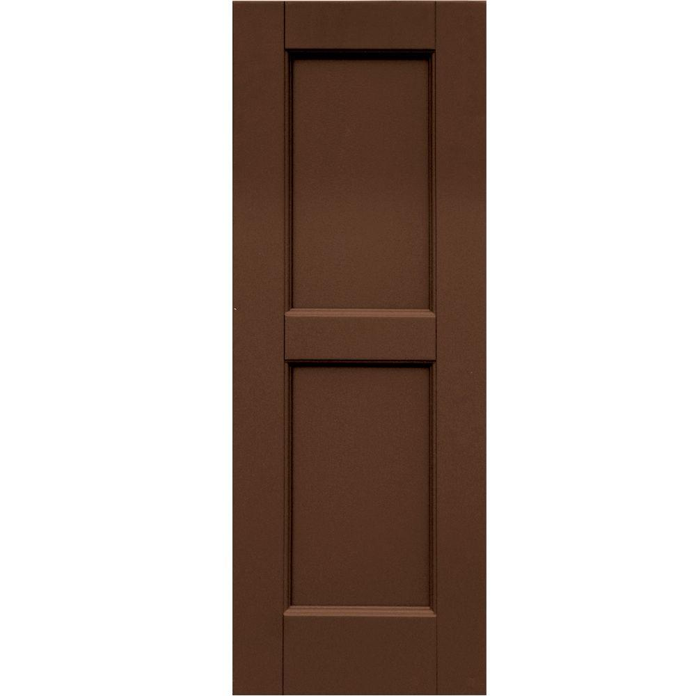 Winworks Wood Composite 12 in. x 33 in. Contemporary Flat Panel Shutters Pair #635 Federal Brown