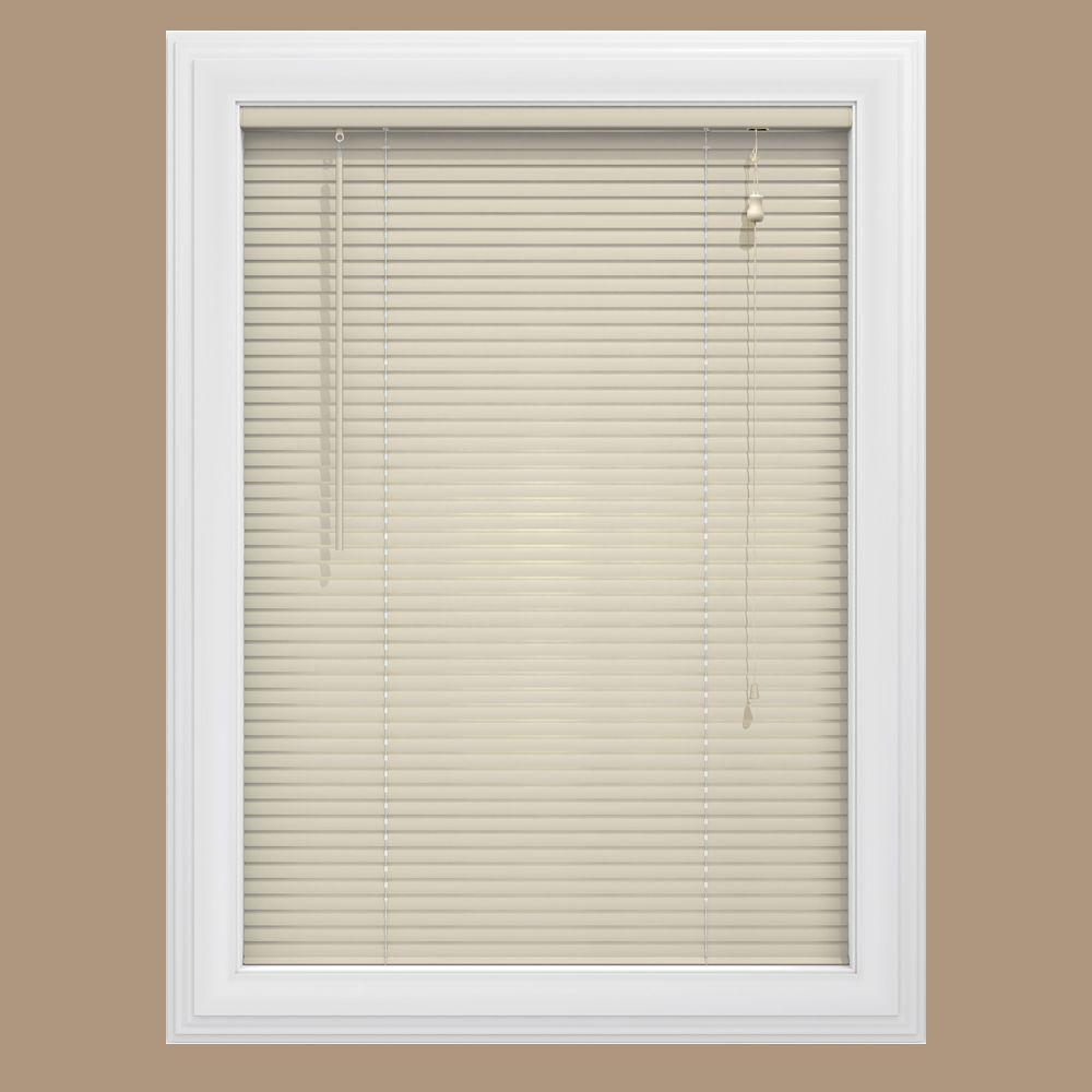 Bali Cut-to-Size Alabaster 1 in. Room Darkening Vinyl Mini Blind - 68.5 in. W x 48 in. L (Actual Size is 68 in. W x 48 in. L)