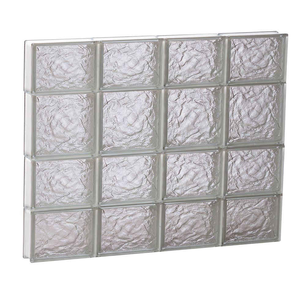 31 in. x 25 in. x 3.125 in. Ice Pattern Non-Vented Glass Block Window