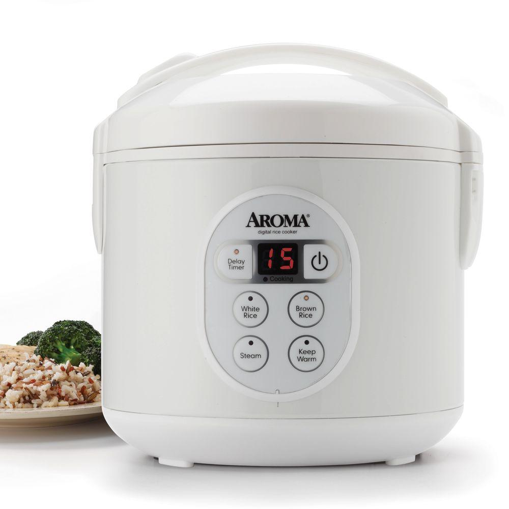 AROMA 8-Cup Digital Rice Cooker in Black Control Panel