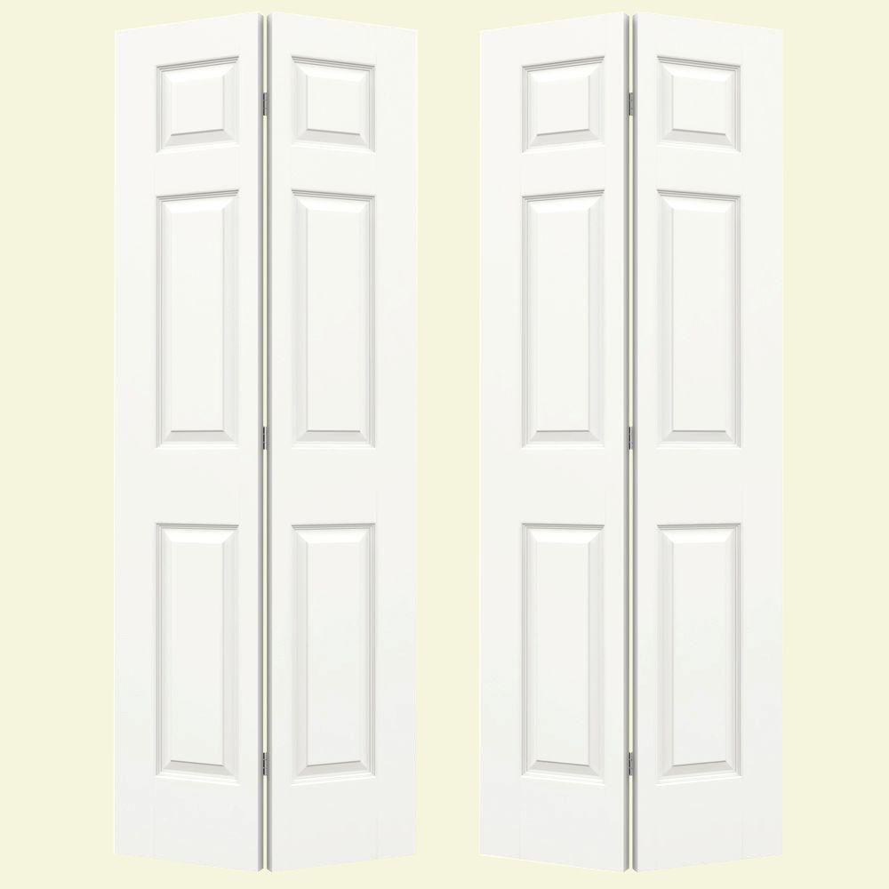 72 in. x 80 in. Smooth 6-Panel Brilliant White Hollow Core Composite Bi-fold Door