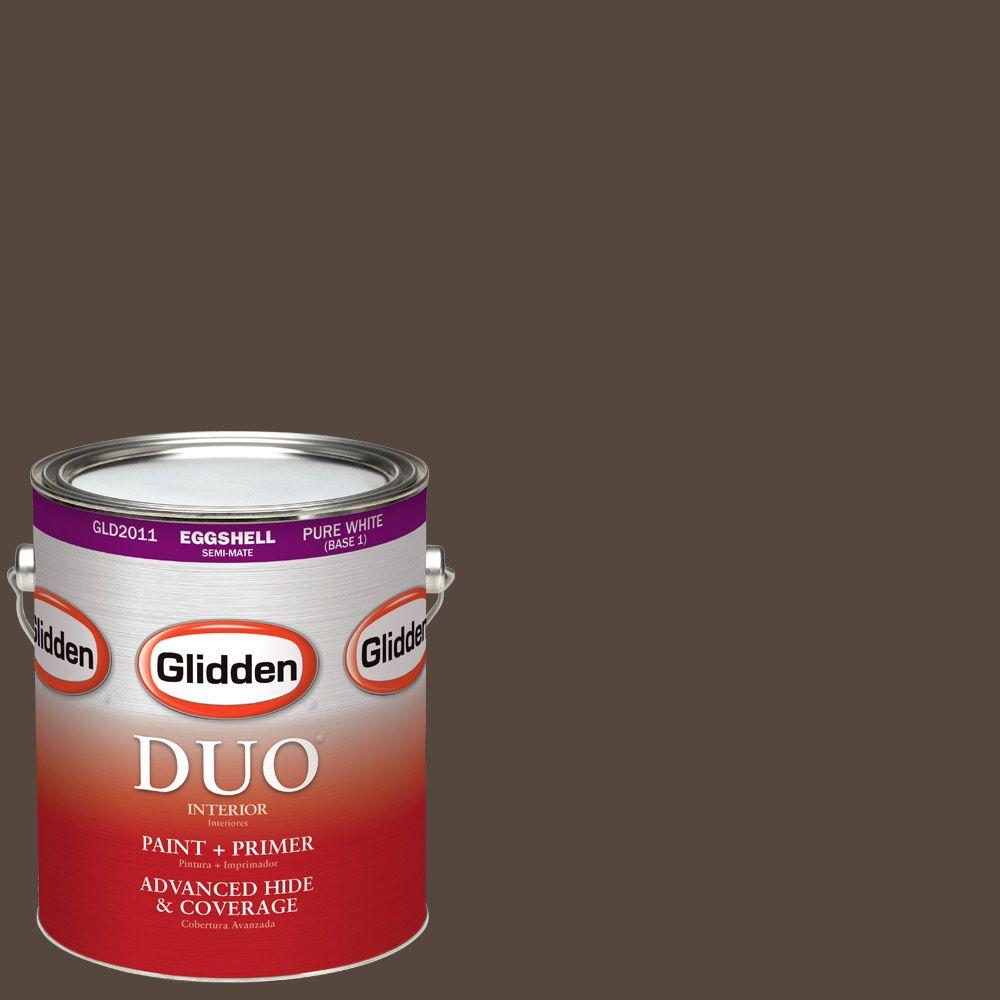 Glidden DUO 1-gal. #HDGWN39D Earth Brown Eggshell Latex Interior Paint with Primer