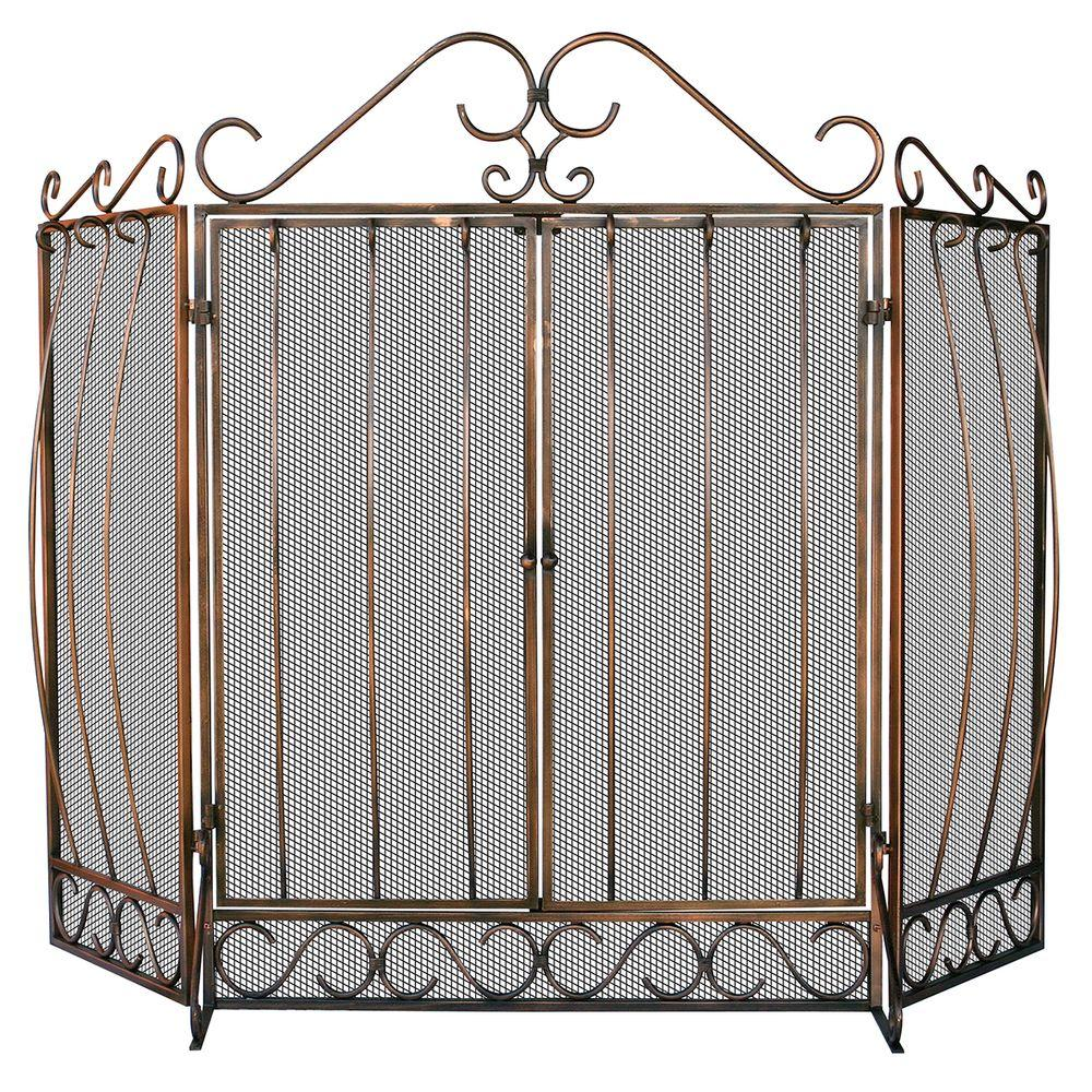 UniFlame Venetian Bronze 3-Panel Fireplace Screen with Doors and Bowed Bar Scrollwork