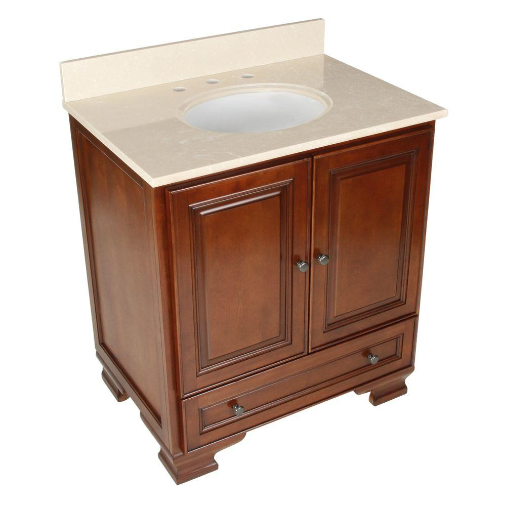 Foremost Hartford 31 in. Vanity in Walnut with Vanity Top in Beige and Undermount Sink in White