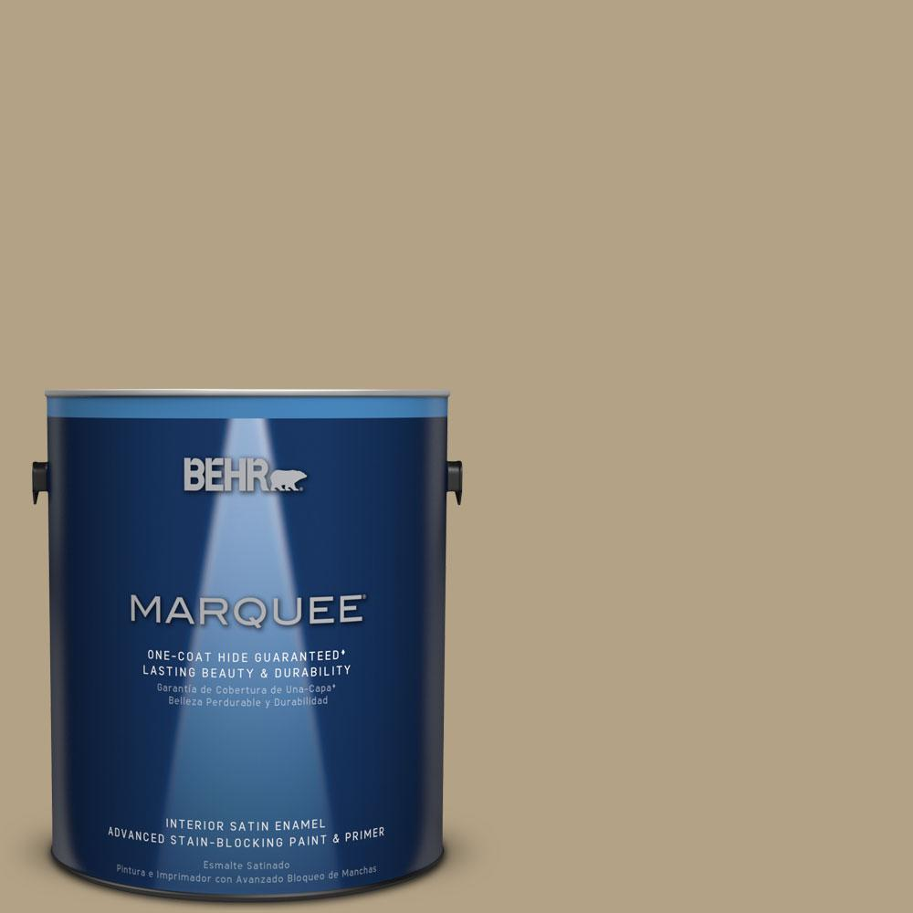BEHR MARQUEE 1 gal. #PPU8-7 Chamois Tan One-Coat Hide Satin Enamel
