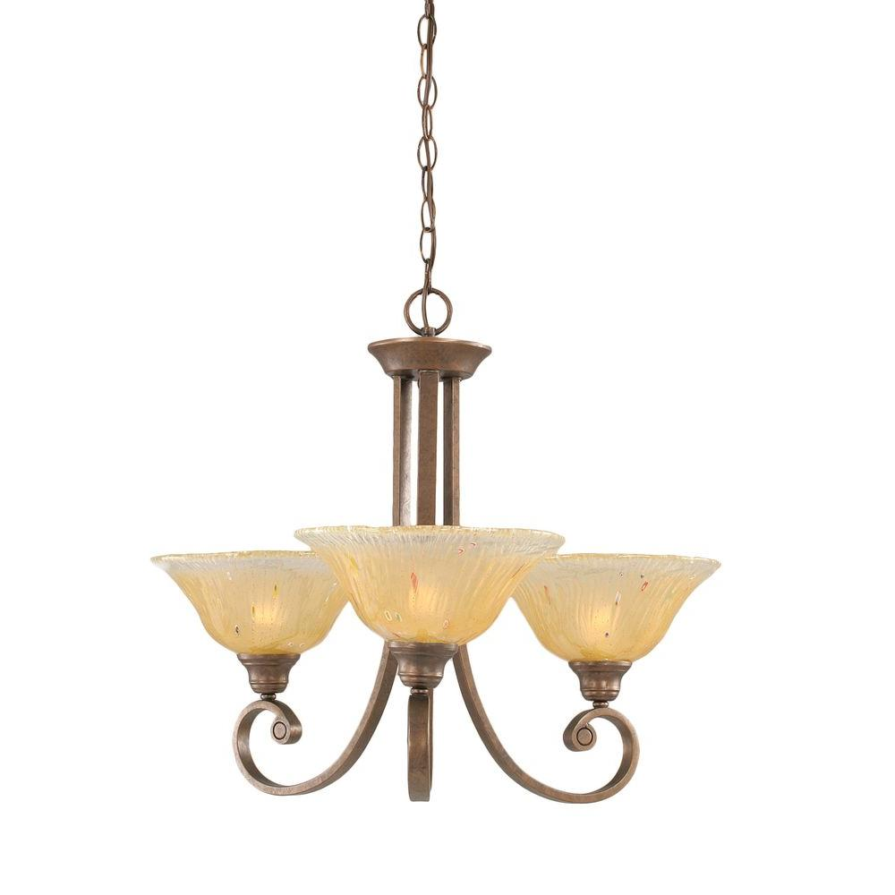 Concord Series 3-Light Bronze Chandelier with Amber Crystal Glass Shade