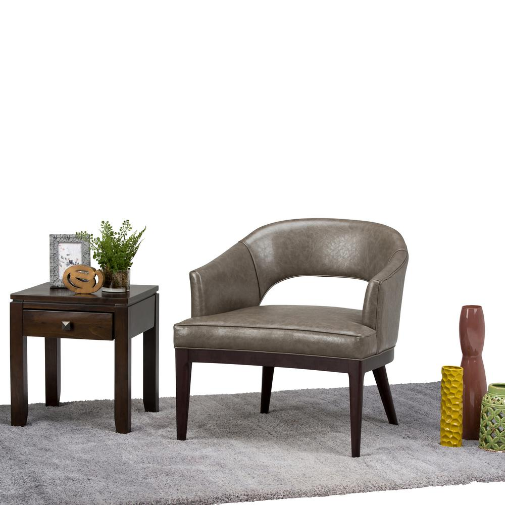 Pair Of Gray Tweed Club Chairs With Loose Aqua Accent: Simpli Home Austin Fawn Brown Fabric Arm Chair-AXCTUB-003