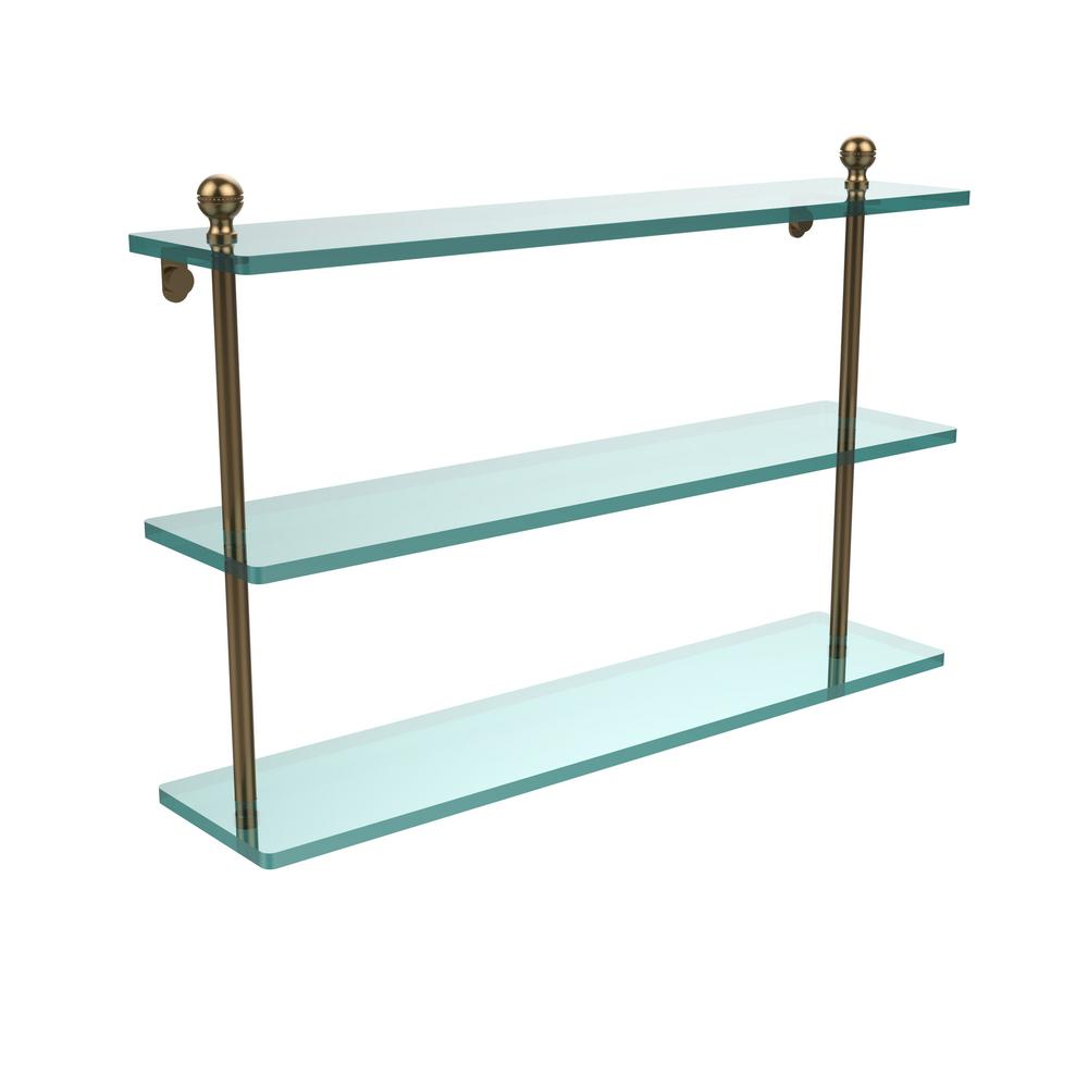 Allied Brass Mambo 22 in. L x 15 in. H x 5 in. W 3-Tier Clear Glass Bathroom Shelf in Brushed Bronze