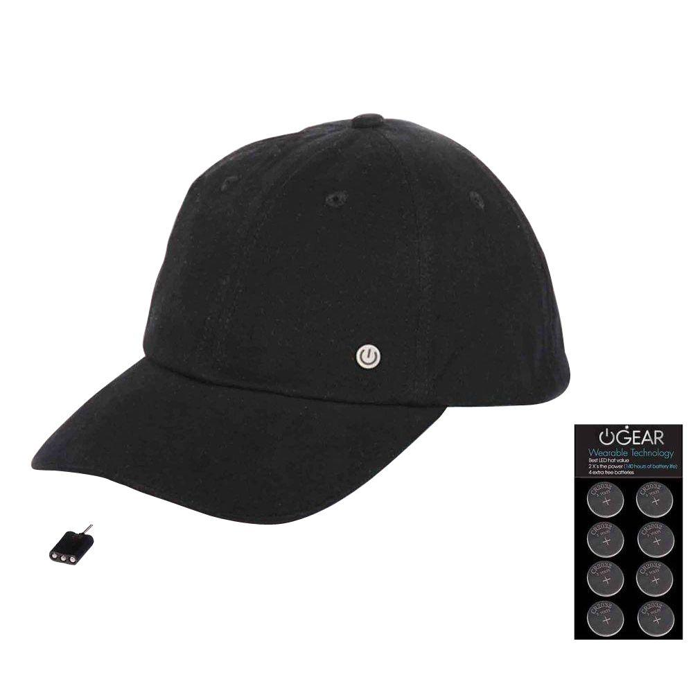 Power Gear Coin Battery Hat with Attachable LED Light, Black
