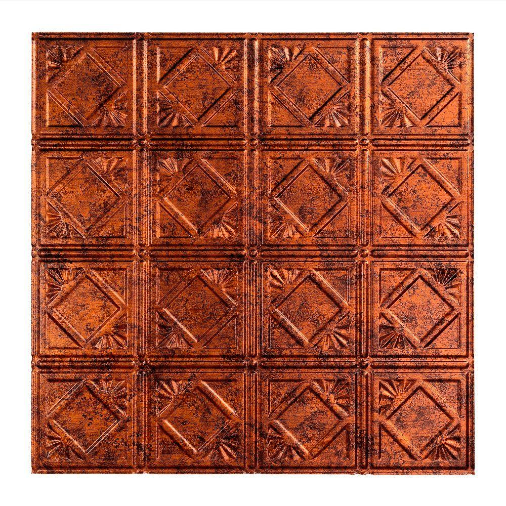 Fasade Traditional 4 - 2 ft. x 2 ft. Lay-in Ceiling Tile in Moonstone Copper