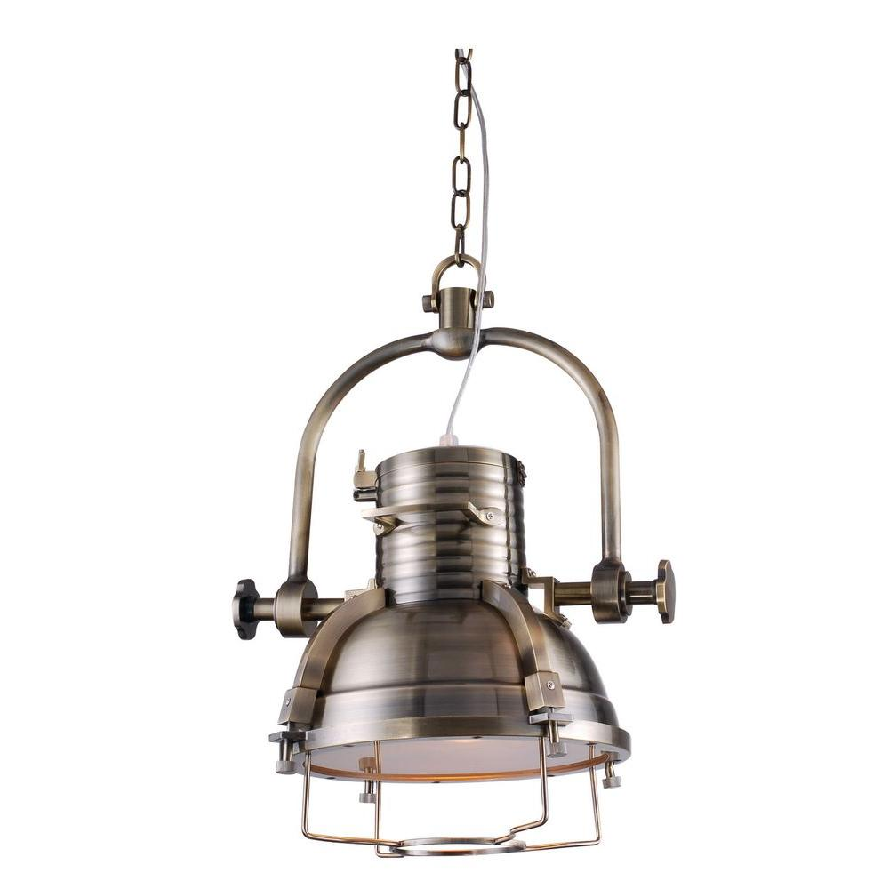 Elegant Lighting Industrial 1-Light Antique Brass Pendant