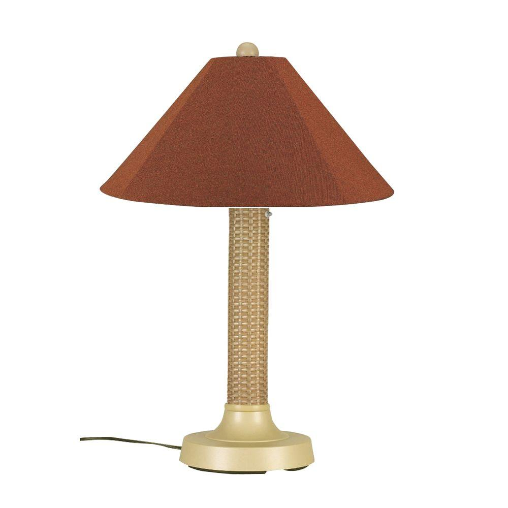 Bahama Weave 34 in. Mojavi Outdoor Table Lamp with Chile Linen