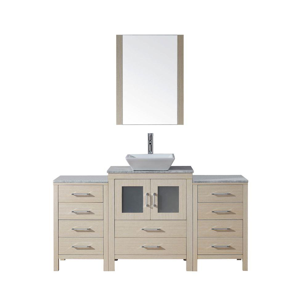 Virtu USA Dior 64 in. Vanity in Light Oak with Marble Vanity Top in White and Mirror-DISCONTINUED