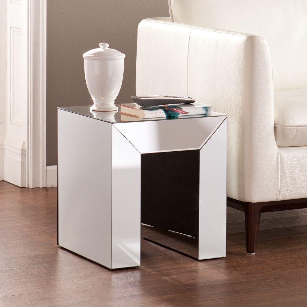 Southern Enterprises Ada Mirrored Accent Table in Silver-HD889177 - The Home