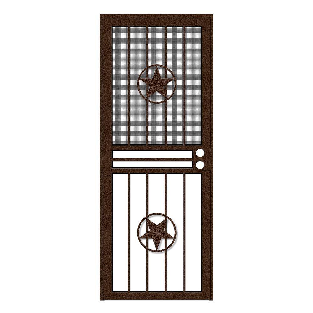 Unique Home Designs 30 in. x 80 in. Lone Star Copperclad Recessed Mount All Season Security Door with Insect Screen and Glass Inserts