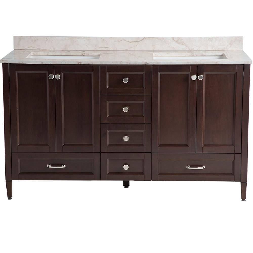 Claxby 61 in. W x 22 in. D Vanity in Chocolate