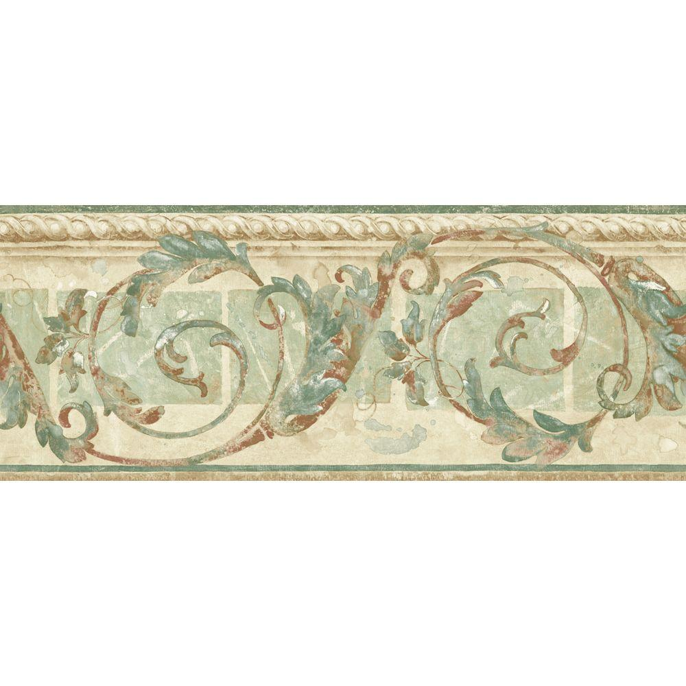 null 8.25 in. x 15 ft. Pastel Traditional Scroll Border