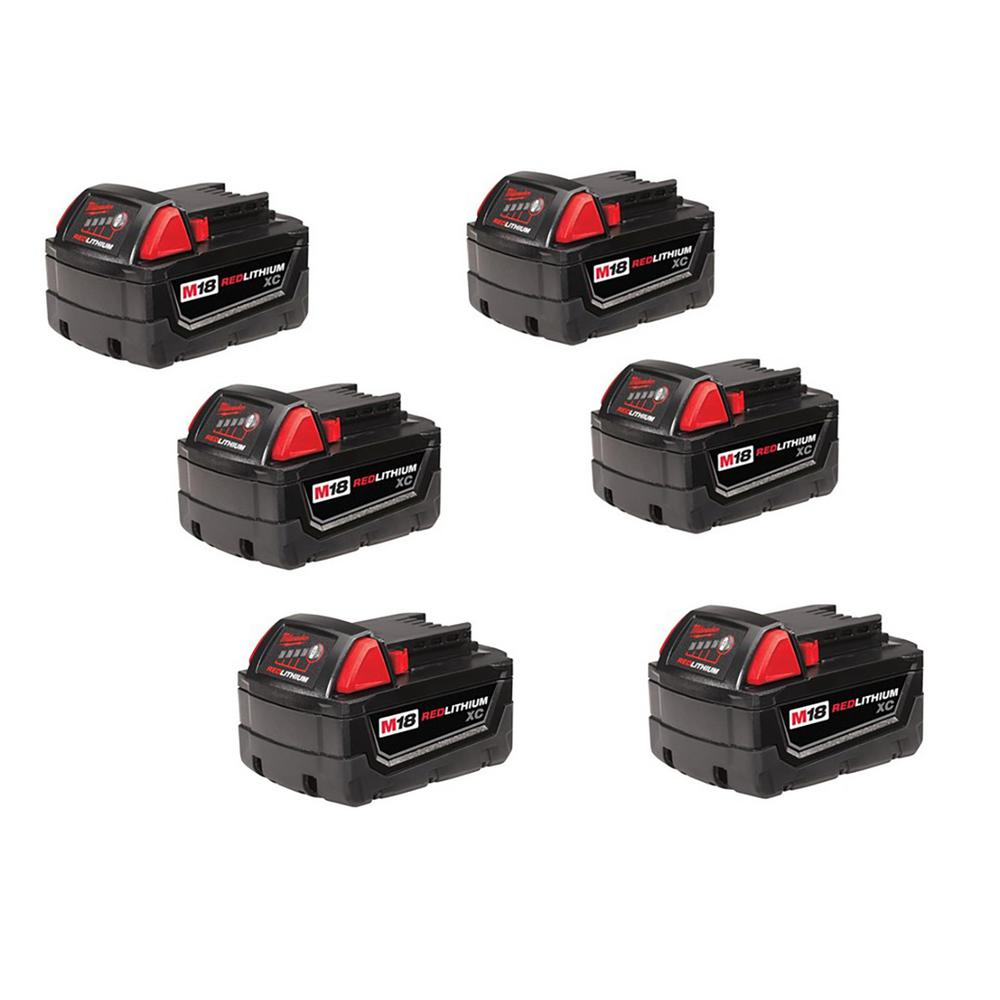 M18 18-Volt Lithium-Ion XC High Capacity Battery (6-Pack)