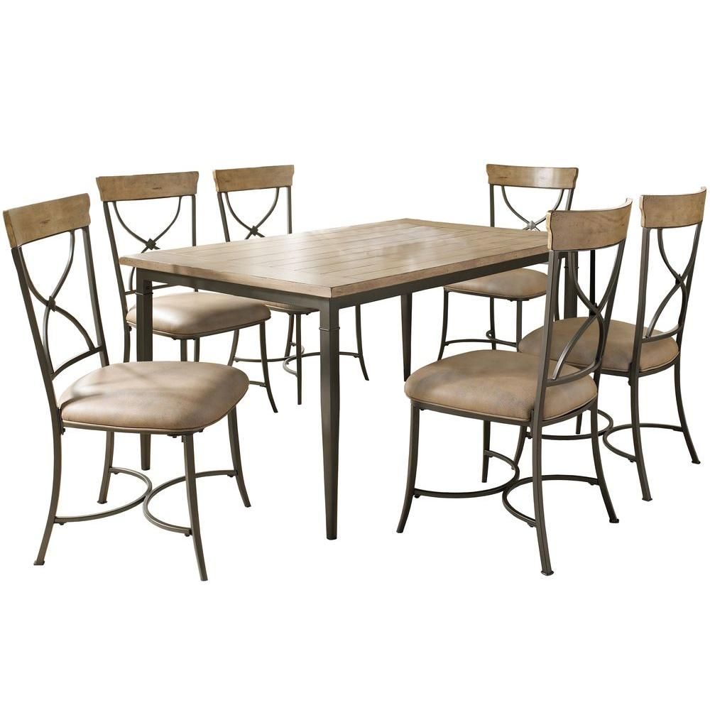 Hillsdale Furniture Charleston 7-Piece Desert Tan X-Back Dining Set-DISCONTINUED