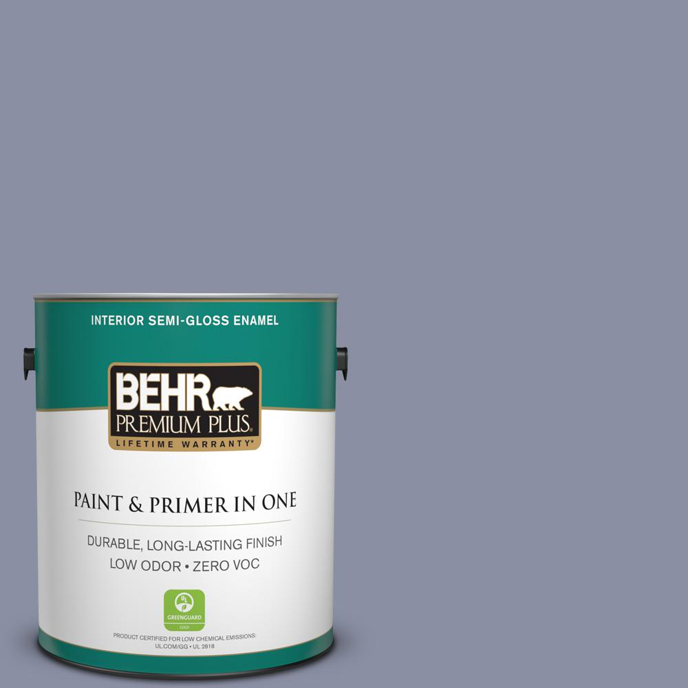 BEHR Premium Plus 1-gal. #620F-4 Violet Shadow Zero VOC Semi-Gloss Enamel Interior Paint