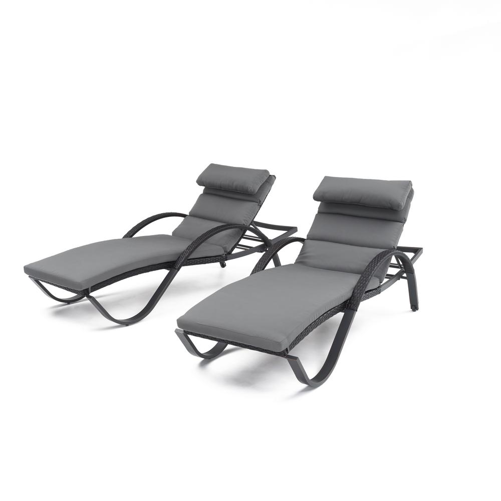 Deco Patio Chaise Lounge with Charcoal Grey Cushion and Attached Pillow