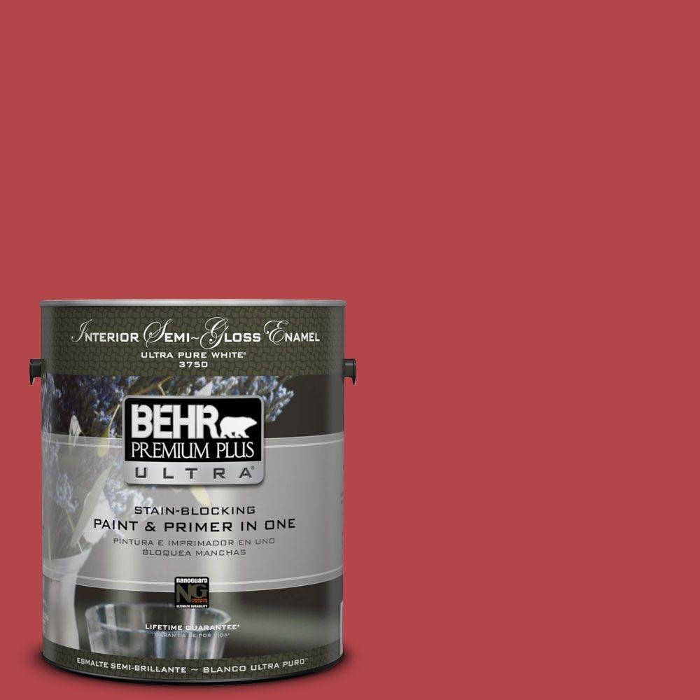 BEHR Premium Plus Ultra 1-gal. #HDC-SM14-10 Intrigue Red Semi-Gloss Enamel Interior Paint