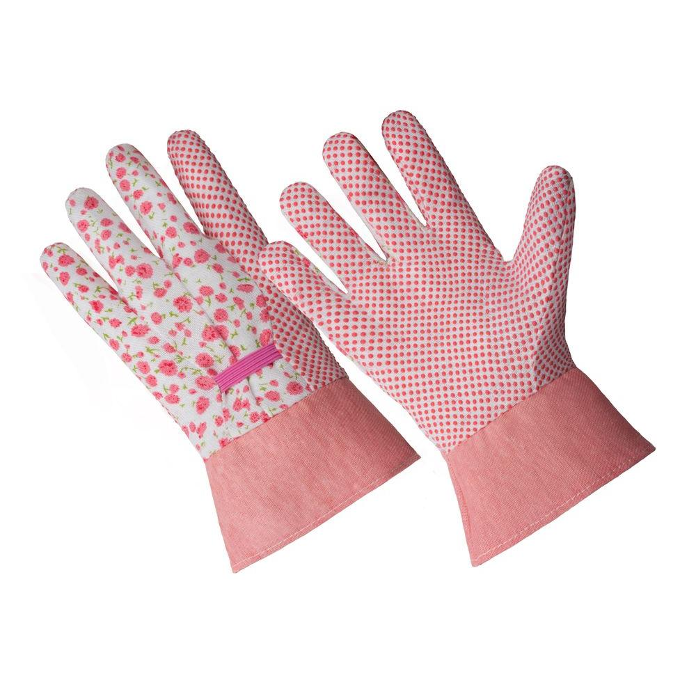Ladies Small/Medium Pink Flower Poly/Cotton Blend Glove with PVC Dotted Palm and Band Cuff