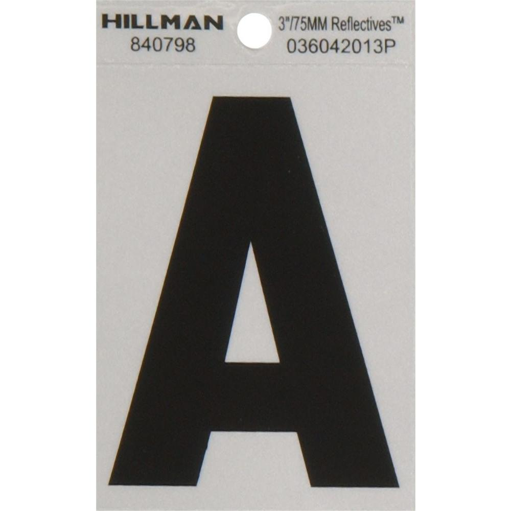 The Hillman Group 3 In Vinyl Reflective Letter A 840798