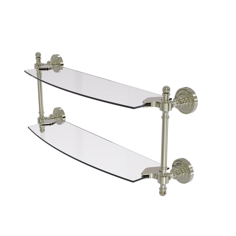Retro Dot Collection 18 in. 2-Tiered Glass Shelf in Polished Nickel