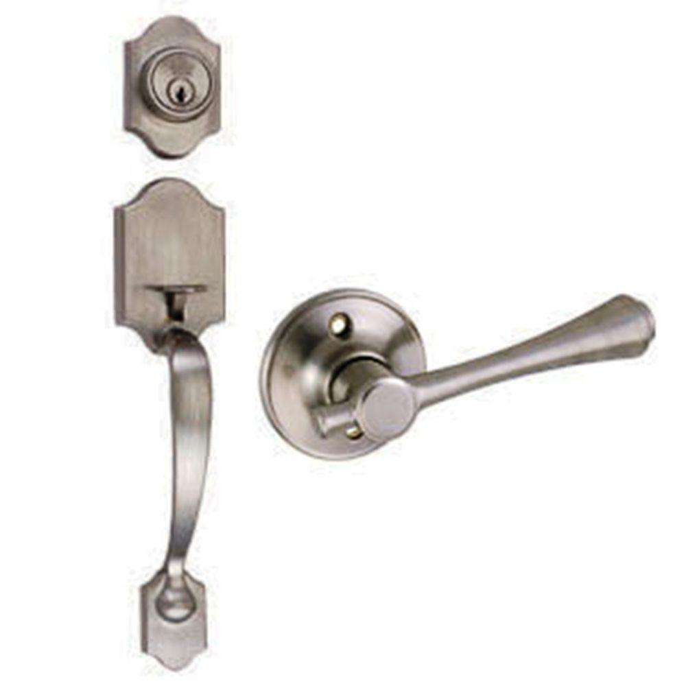 Sussex Satin Nickel Handleset with Ironwood Lever Interior and Single Cylinder