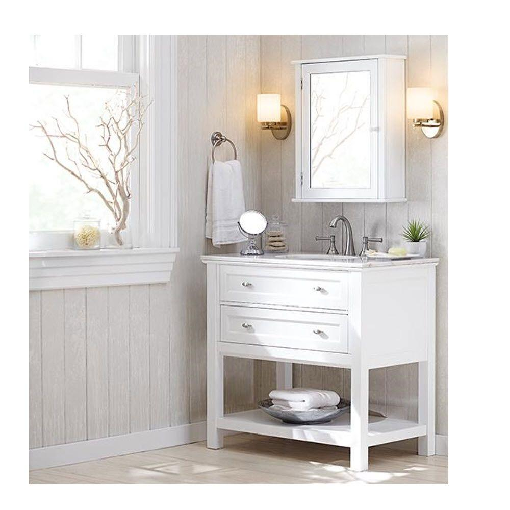 home decorators collection austell 37 in vanity in white with natural marble vanity top in white with white basin 1939100410 the home depot - Home Decorators Catalog