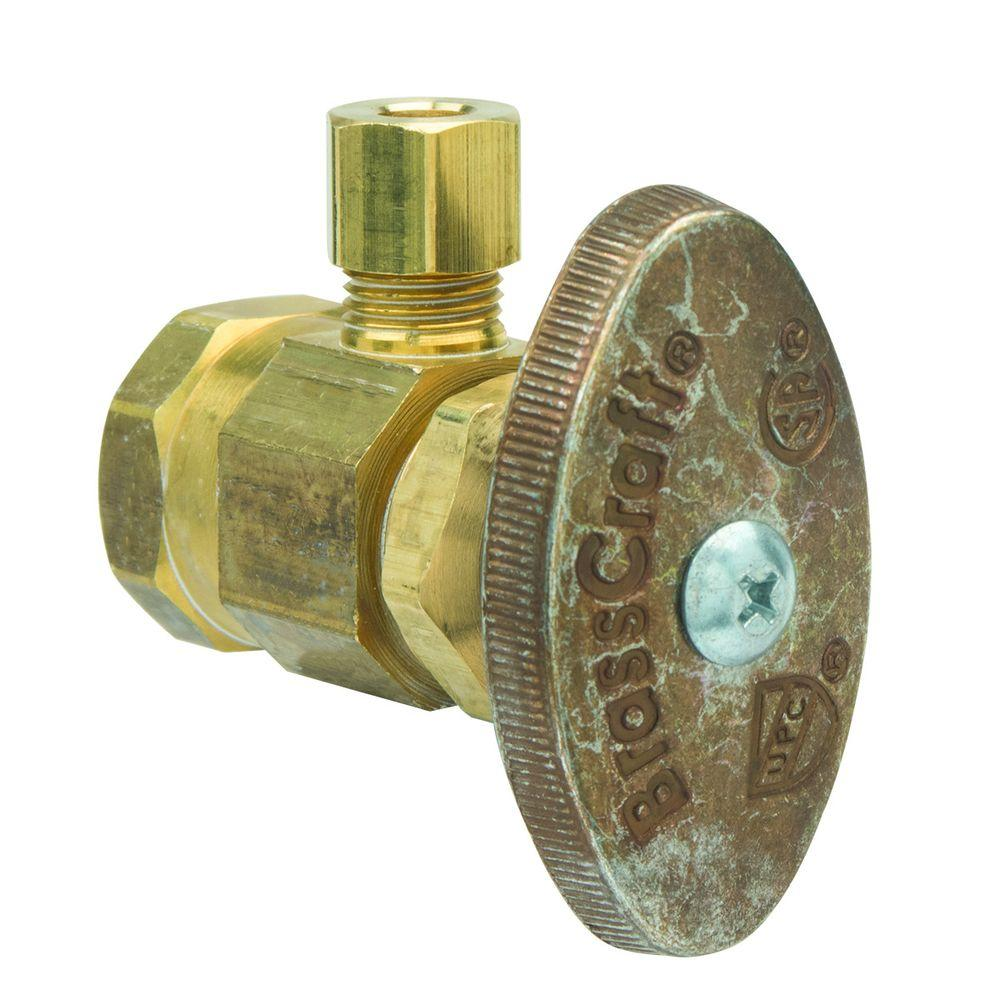 BrassCraft 1/2 in. FIP Inlet x 1/4 in. O.D. Compression Outlet Brass Multi-Turn Angle Valve (5-Pack)